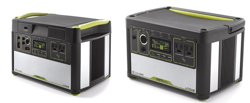 Goal Zero Yeti 400 and Yeti 1400 Lithium Solar Generators
