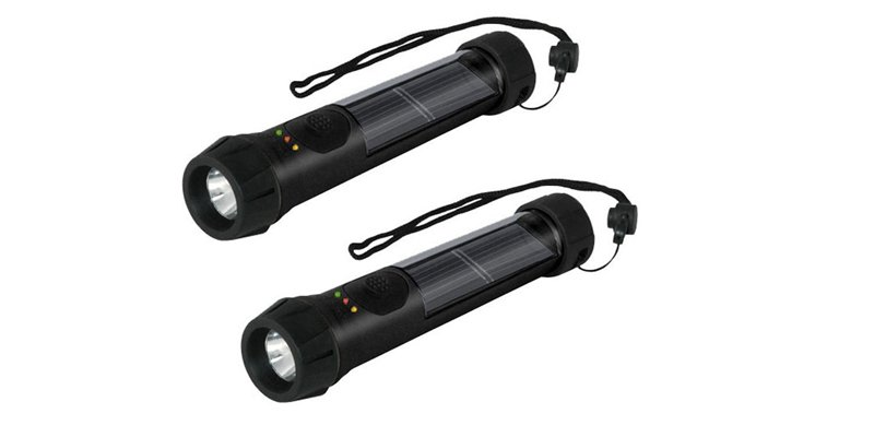 Hybrid Solar LED Flashlight with Battery Backup