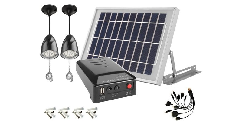 MicroSolar 2-Lamp Solar Home Light Kit