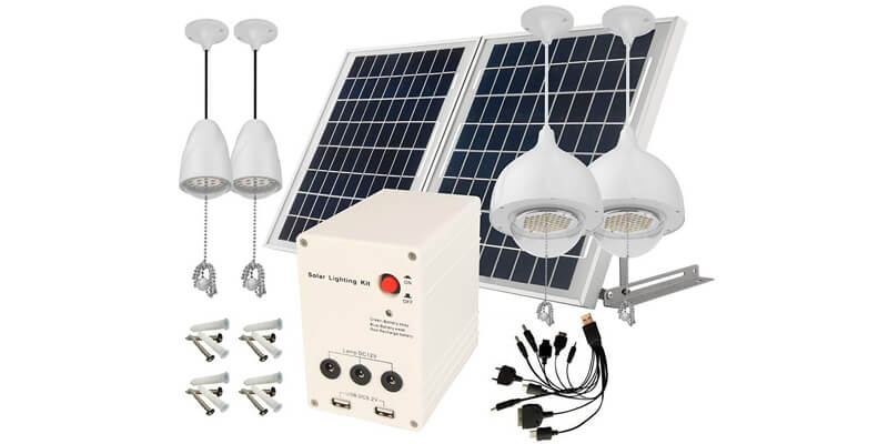 microsolar 25W 4-Lamp Home Lighting System