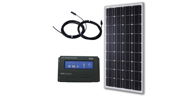 komaes 100w solar panel with 20a PWM charge controller