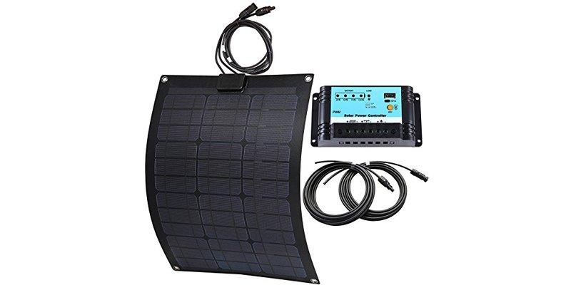 Lensun 50W Semi-Flexible Fiberglass Solar Kit