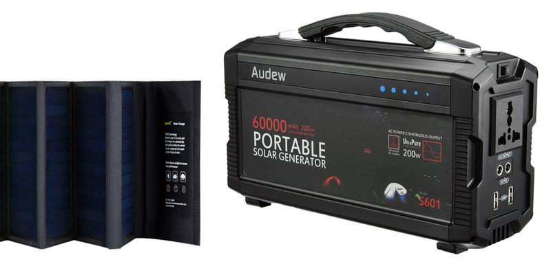 audew 220wh portable solar generator